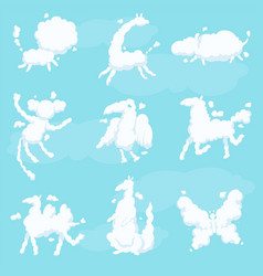 cute animal clouds white silhouette set kid sweet vector image