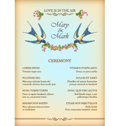 Floral wedding party card with flowers birds vector image