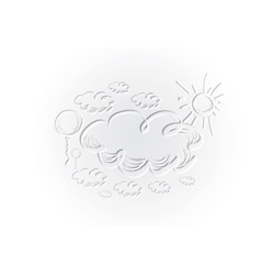 Hand drawing sky with clouds and sun vector image