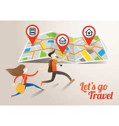 Couple run into map travel vector