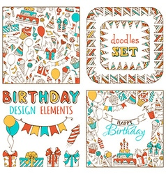 Doodles happy birthday set vector