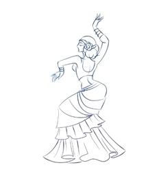Belly dancer figure gesture sketch line drawing vector