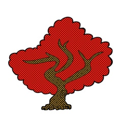 Comic cartoon red tree vector
