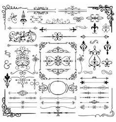 Black hand drawn decorative doodle design elements vector