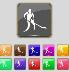 Winter sport hockey icon sign set with eleven vector