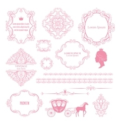 Mega set collections of vintage design elements vector