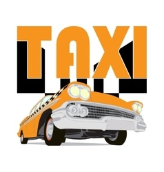 Vintage taxi car cartoon sketch vector