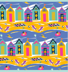 Beach cabin bright colorful seamless vector