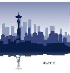 blue cityscape of seattle wit text vector image vector image