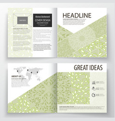 Business templates square design bi fold brochure vector
