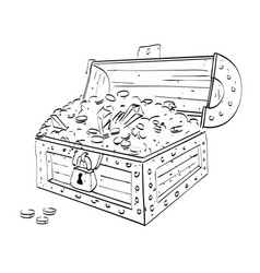 Cartoon image of treasure chest vector