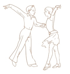 Children dancing couple vector