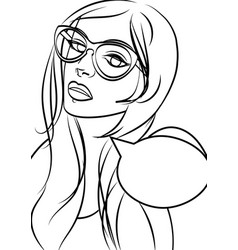 cute hipster woman in glasses in pop art comic vector image