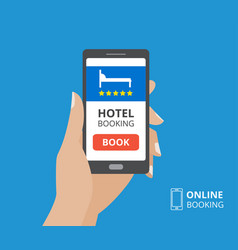 Design concept of hotel booking online hand vector