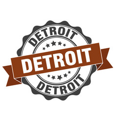 Detroit round ribbon seal vector