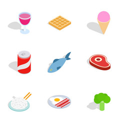 Dieting meal icons isometric 3d style vector
