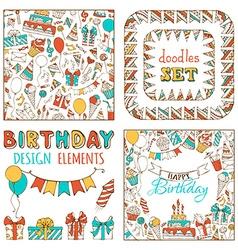 Doodles happy birthday set vector