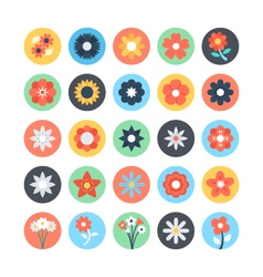 Flowers colored icons 3 vector