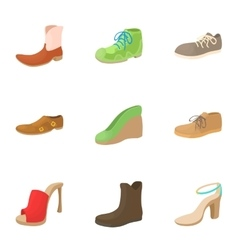 Footwear icons set cartoon style vector