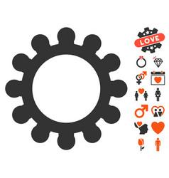 gear icon with valentine bonus vector image