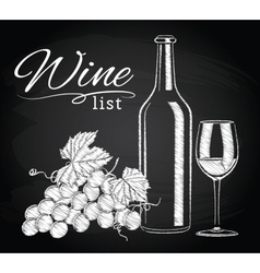 Glass bottle wine grapes on chalkboard vector
