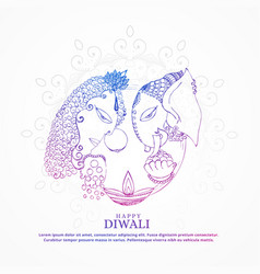 Goddess lakshmi and lord ganesha creative happy vector