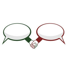 Hand shake between speech bubbles vector