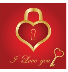 heart card with key vector image vector image
