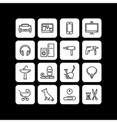 Icons of products categories linear black vector