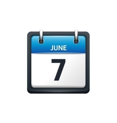 June 7 calendar icon flat vector