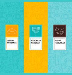 Line happy hanukkah patterns set vector