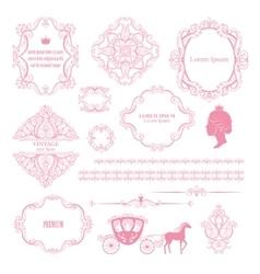 Mega set collections of vintage design elements vector image vector image
