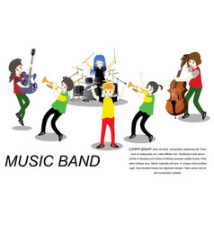 Musicians ska reggae group play guitar singer vector
