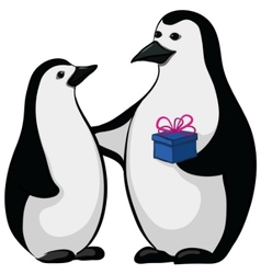 Penguins with a gift box vector