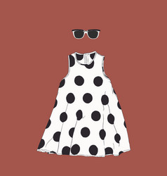 Polka dot dress with sun glasses sketch vector