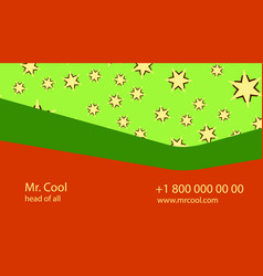 Red green creative business card with stars vector