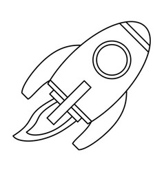 Rocket space travel line vector