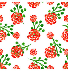 seamless pattern with watercolor roses with red vector image vector image