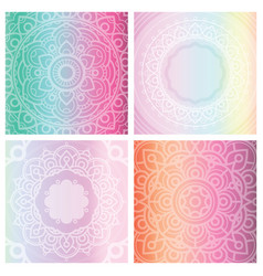 set of 4 cards with floral mandala on tender vector image