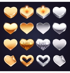 Set of Golden and Silver Hearts vector image