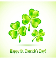 Shining clovers patricks day greeting card vector