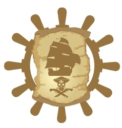 Ship helm and parchmen vector image vector image
