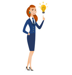 Stewardess pointing at bright idea light bulb vector