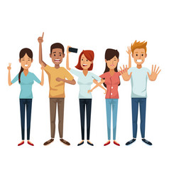 White background with colorful group friendship of vector