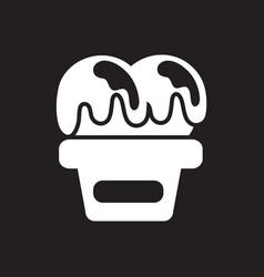 White icon on black background ice cream vector