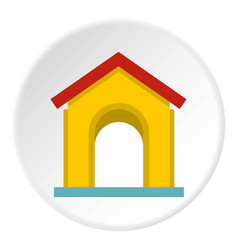 Yellow toy house icon circle vector