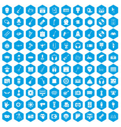 100 show business icons set blue vector