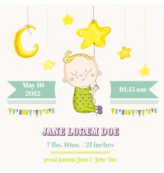 Baby boy sleeping on a star - baby shower vector