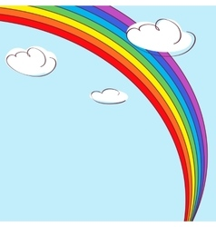 Rainbow and clouds light blue background vector