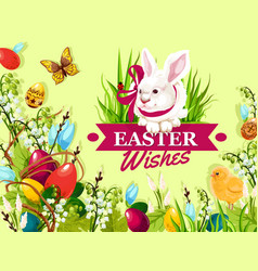 Easter rabbit greeting card with floral background vector